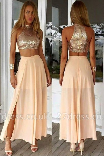 Newest Sequined Two Piece Prom Dress UK Front Split Floor-length BA3375