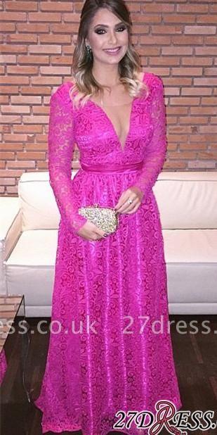 Lace Backless Natural Long-Sleeve Fuchsia V-Neck A-Line Evening Dress UKes UK