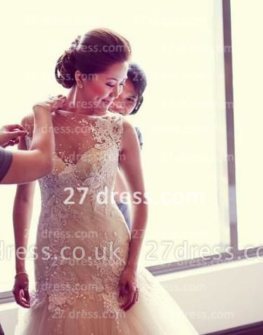 Beads Bridal High Neck Lace Wedding Dresses UK Sheer Cheap Backless Sleeveless Court Train Gowns