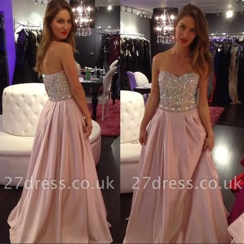 A-line Sexy Sweetheart-Neck Crystals-Top Long Pink Prom Dress UKes UK