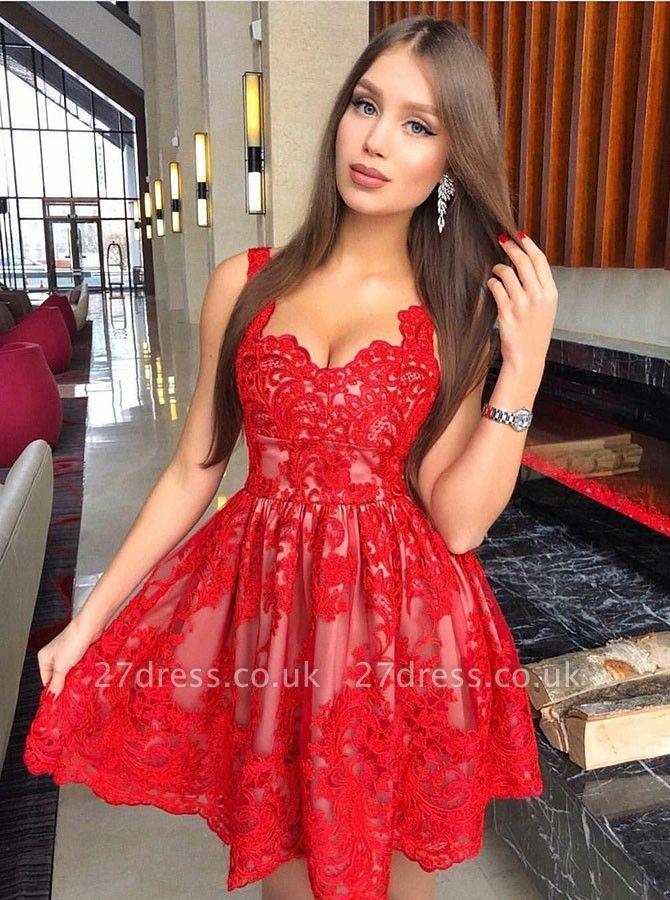 A-Line Red Lace Homecoming Dress UKes UK | Spaghetti Straps Mini Cocktail Dress UKes UK