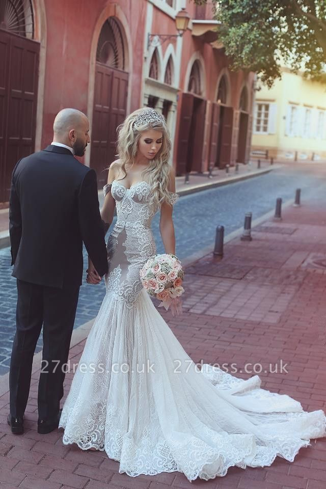 Modern Off-the-Shoulder Sweetheart Lace Sexy Mermaid Wedding Dress On Sale BA7275