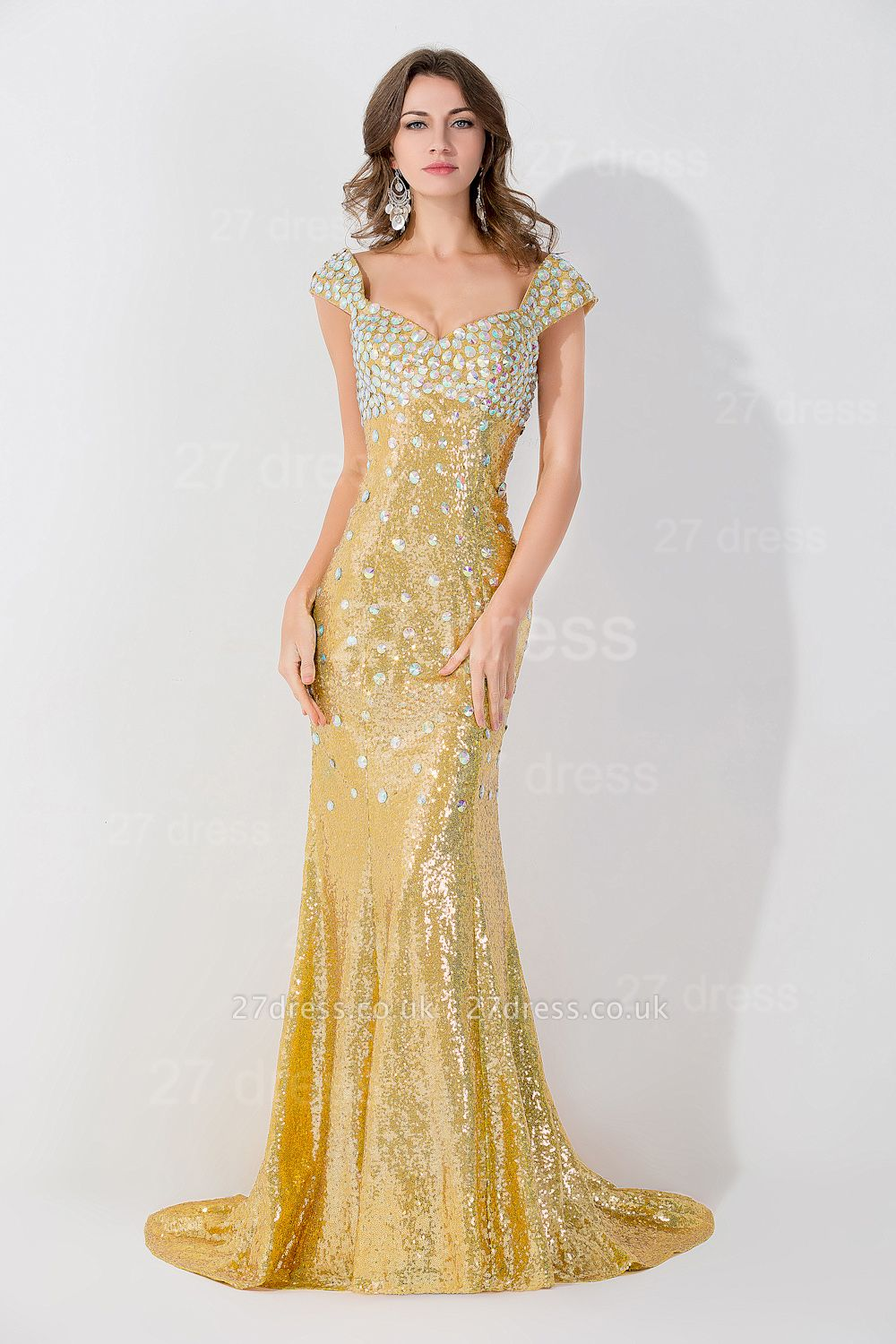 Gorgeous Mermaid Sequins Crystals Evening Dress UK Sweep Train