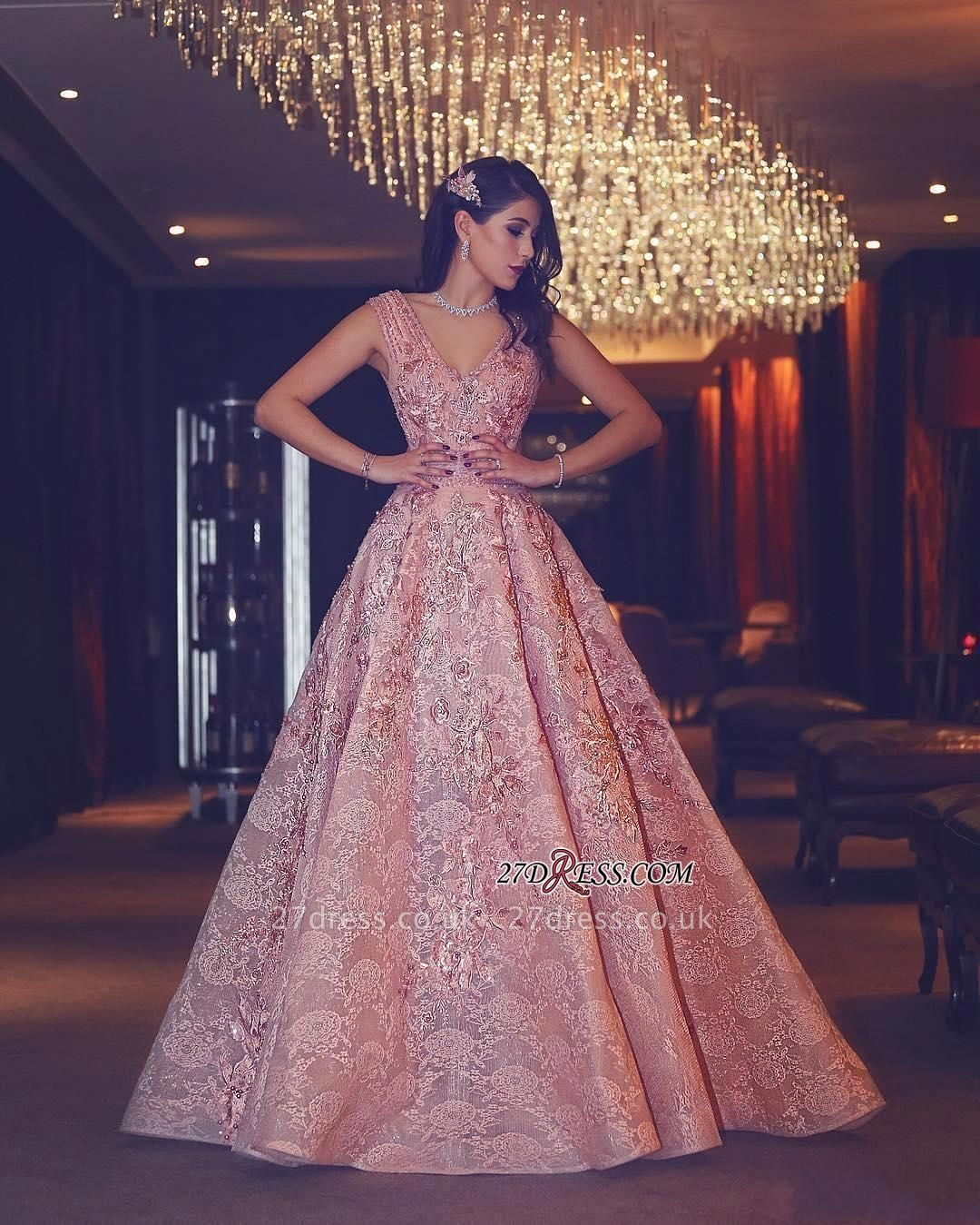 Flowers Luxury Lace Beading V-Neck Puffy Pink Evening Gowns