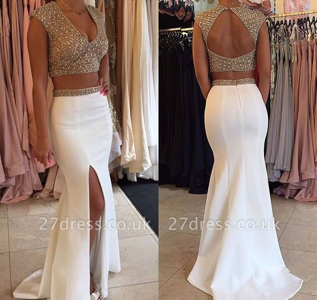 Gorgeous Two Pieces Prom Dress UKes UK Beadings Cap Sleeve Long Party Gowns BA3117