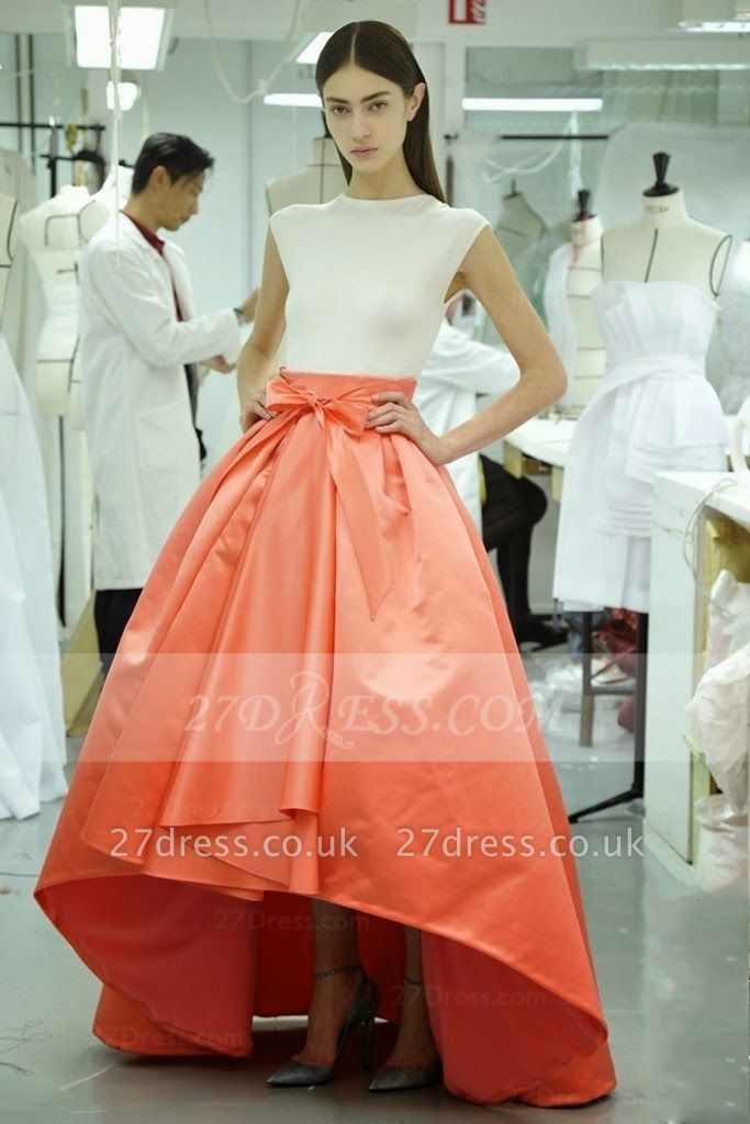 Hi-lo White Ball Gown Prom Dress UKes UK Evening Jewel Cap Sleeve Bow Sash and Orange Gowns