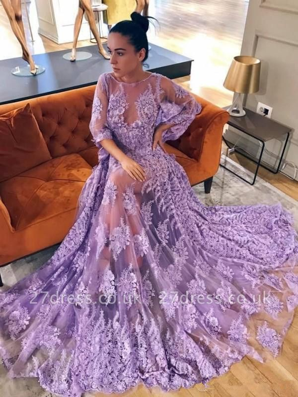 Modern Lace Lavender Half Sleeve Prom Dress UK | Backless Prom Dress UK
