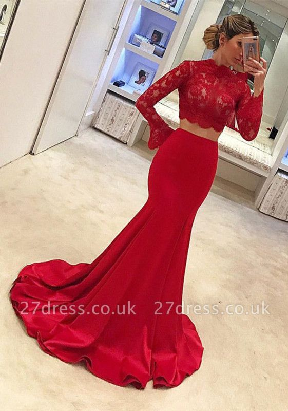 Luxury Lace Red Two piece Prom Dress UK Mermaid On Sale