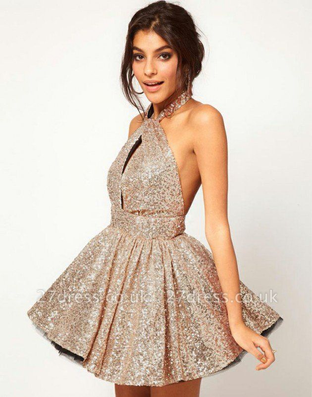 Gorgeous Halter Sleeveless Short Cocktail Dress UK Open Back With Sequins