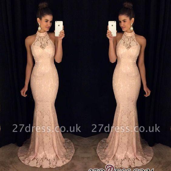 Lace Sleeveless Sweep-Train High-Neck Sexy Mermaid Prom Dress UK BA6117