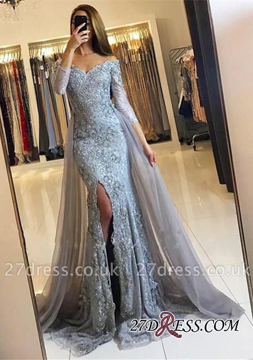 Sweetheart Lace-Appliques Front-Split Newest Long-Sleeve Mermaid Prom Dress UK SP0345