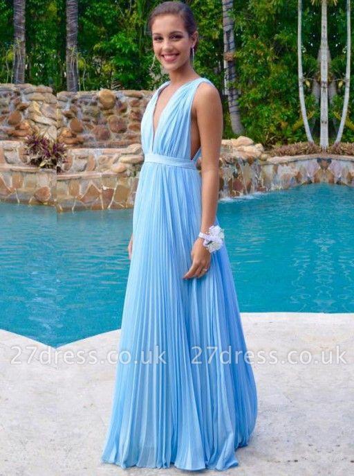 Newest Deep V-neck A-line Prom Dress UK Sleeveless Floor-length