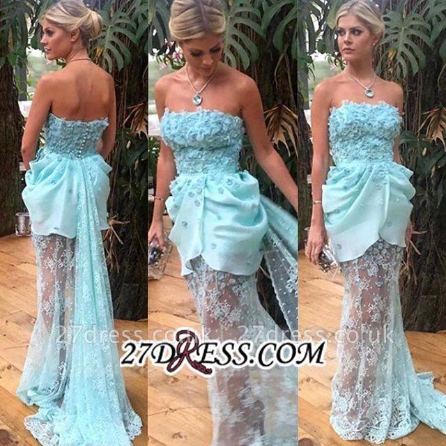 Strapless Sheath Lace Appliques Luxury Evening Floral Long-train Blue Dress UKes UK