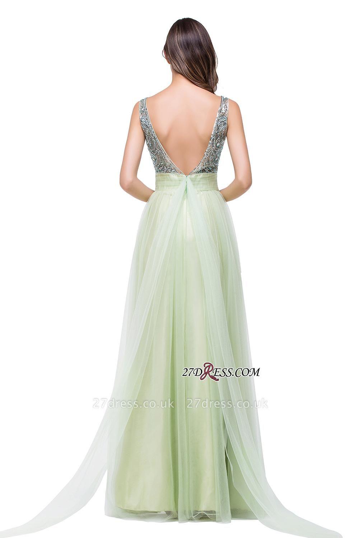 Scoop-Neckline A-line Sleevless Charming Long Crystal Chiffon Prom-Dress UK