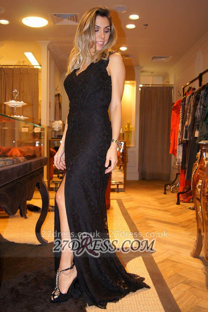 Gorgeous V-neak Sleeveless Mermaid Black Prom Dress UK With Front Split And Lace