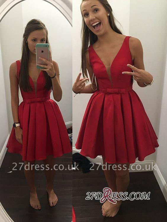 Red Short Sash Bowknot V-neck Straps Sexy Sleeveless Simple Homecoming Dress UK