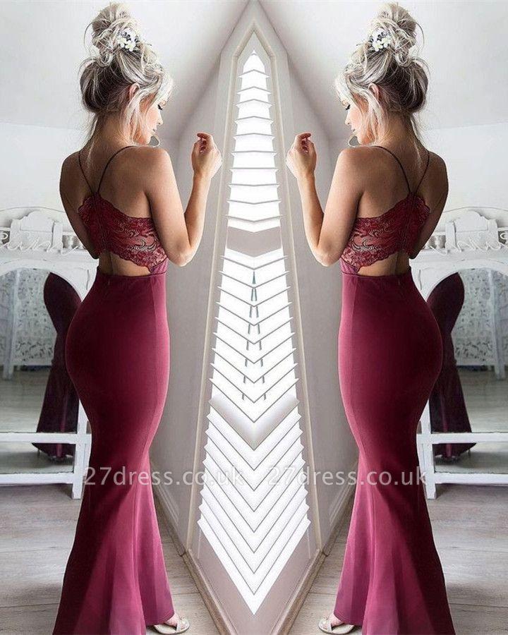 Sexy Spaghetti Straps Mermaid Sweetheart Lace Prom Dress UK