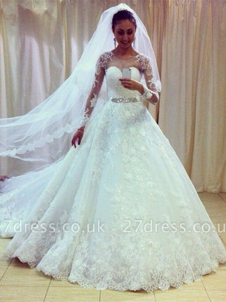 Gorgeous Lace Princess Wedding Dresses UK Appliques With Sleeve