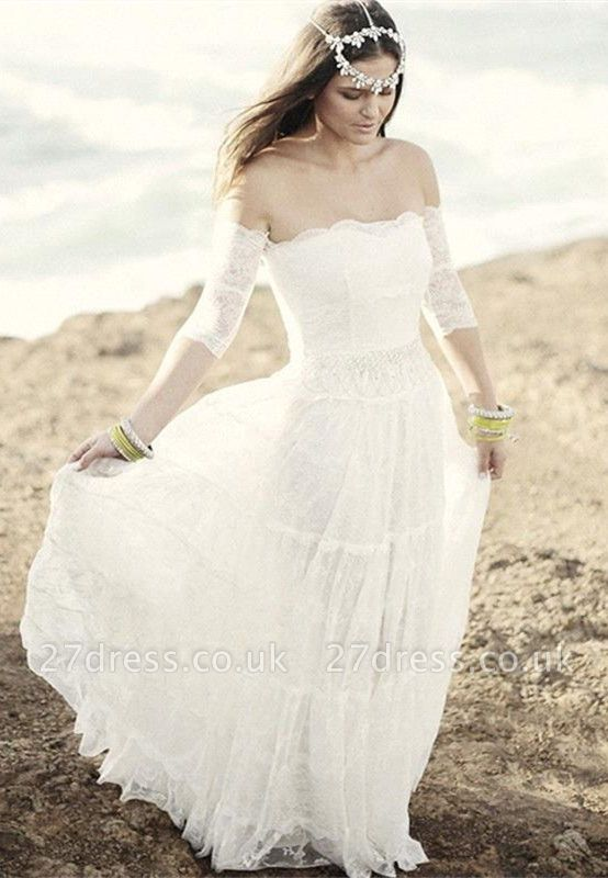 Romantic Tulle Lace Half Sleeve Wedding Dress Off-the-shoulder A-line