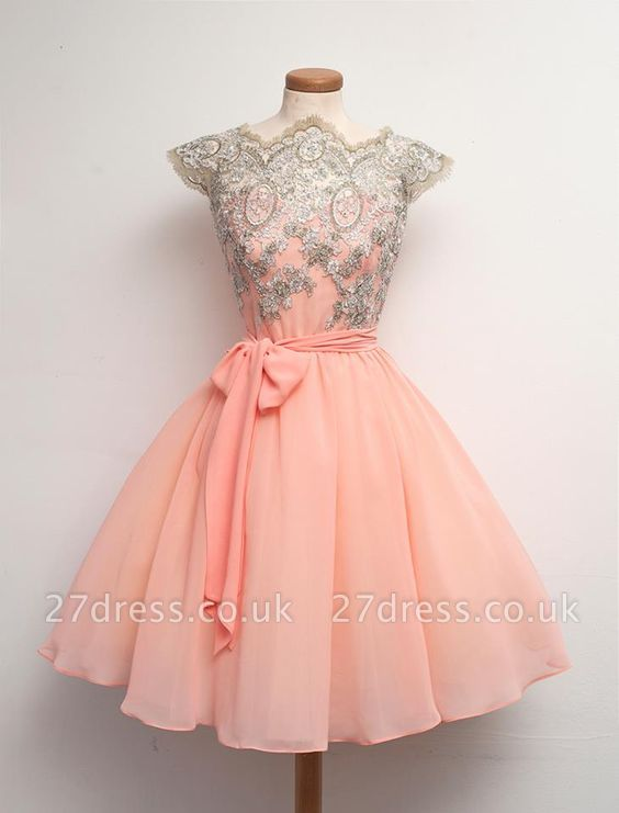 Peach Cap Sleeve Homecoming Dress UK Lace Appliques Short Chiffon Prom Dress UK