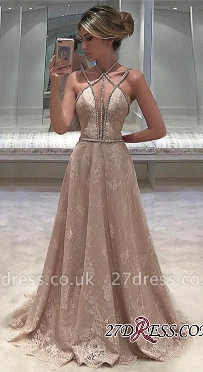Long Sleeveless Lace Straps Beaded Elegant Open-Back Evening Dress UK BA6580