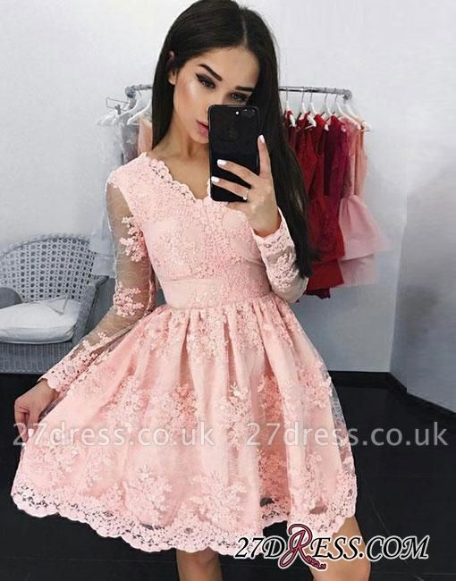 Pink A-line V-neck Short Long-sleeves Lace Cocktail Dress UK