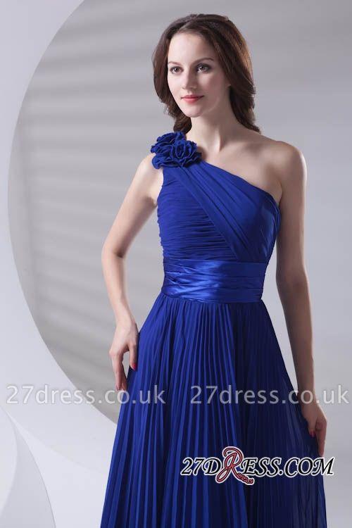 One-Shoulder Simple Chiffon Royal-Blue A-Line Bridesmaid Dress UKes UK