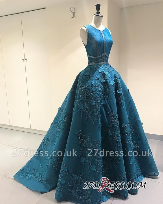 Blue Sleeveless Prom Dress UK | Princess Evening Gowns With Lace Appliques BA9500