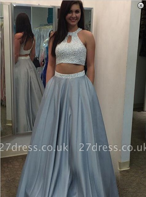Gorgeous Beading Two Piece Prom Dress UK Halter Sleeveless A-line