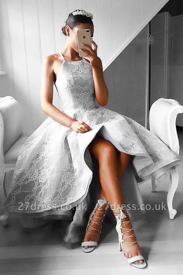 Gorgeous Hi-Lo Lace Sleeveless Short Prom Dress UK BA6799