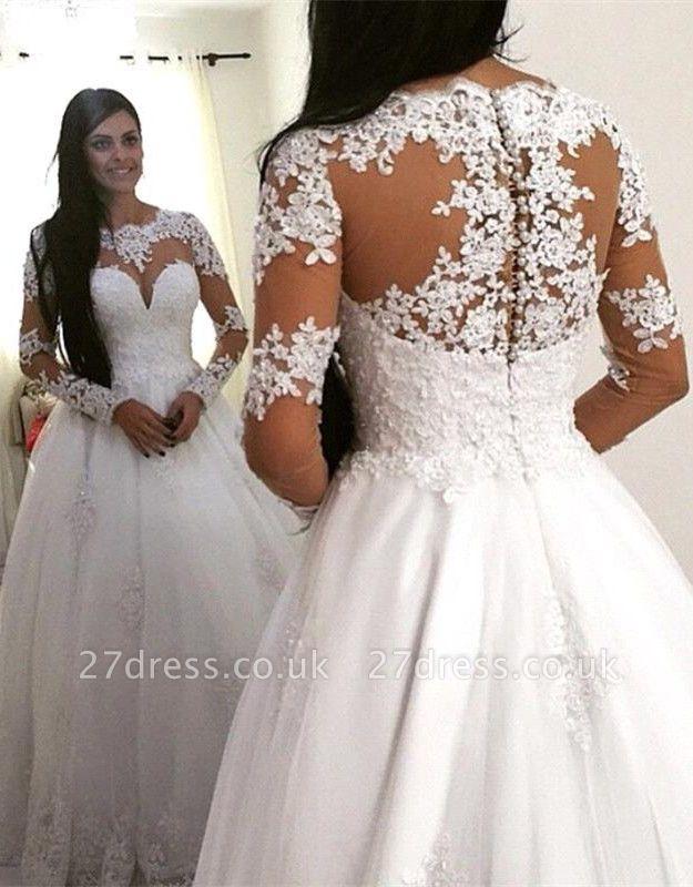 Delicate Lace Appliques Long Sleeve Wedding Dress Zipper Button Back