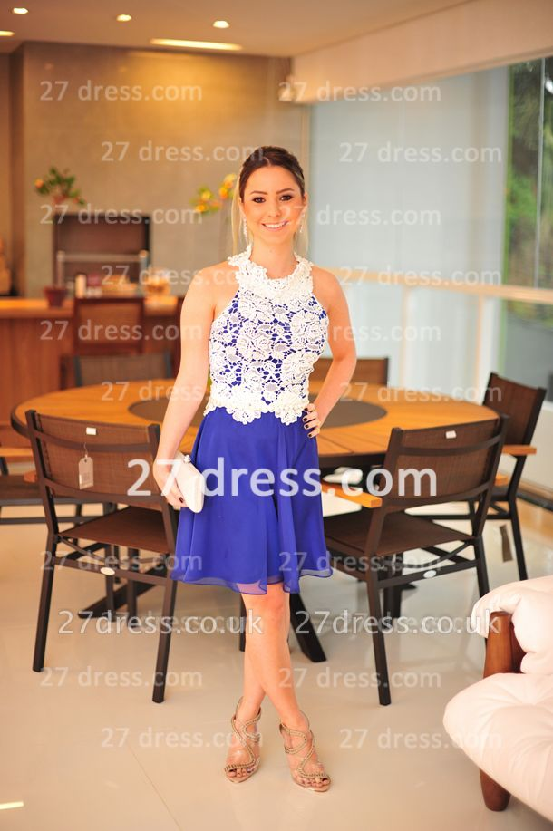 New Arrival Royal Blue Cocktail Gowns White Vestidos De Fiesta Sexy Lace Top