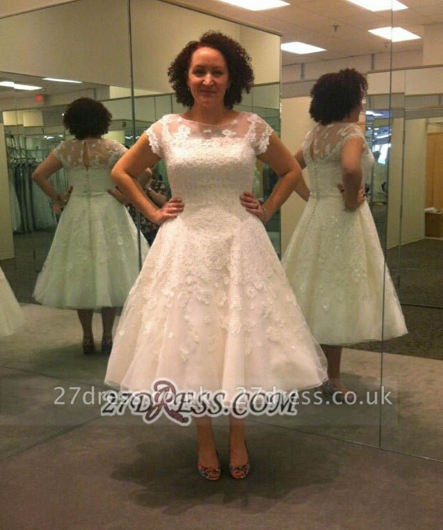 Modern Illusion Cap sleeve Tulle Plus Size Wedding Dress With Knee-length Lace Appliques
