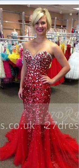 Sequins Red Mermaid Prom Dress UKes UK with Gowns Sweetheart Sleeveless Crystal Beading Zipper Sweep Train Evening