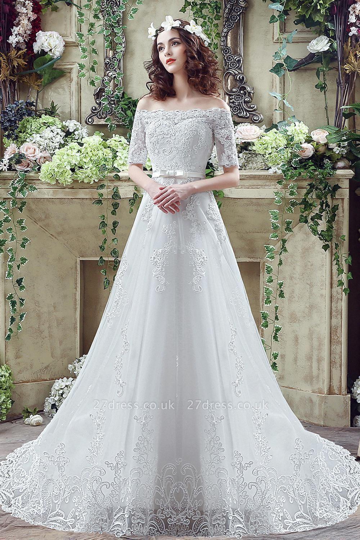 Elegant Off-the-shoulder Lace Appliques Wedding Dress Bowknot Lace-up