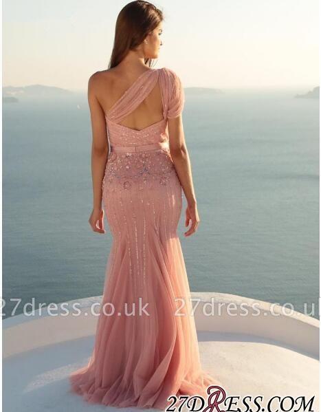 Modest One-Shoulder Mermaid Long Beads Sleeveless Prom Dress UK SP0287