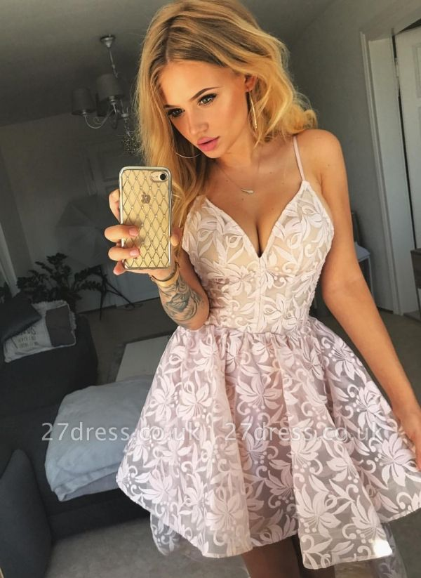 A-Line Pink Floral Homecoming Dress UKes UK | Spaghetti Straps Lace High Low Cocktail Dress UKes UK