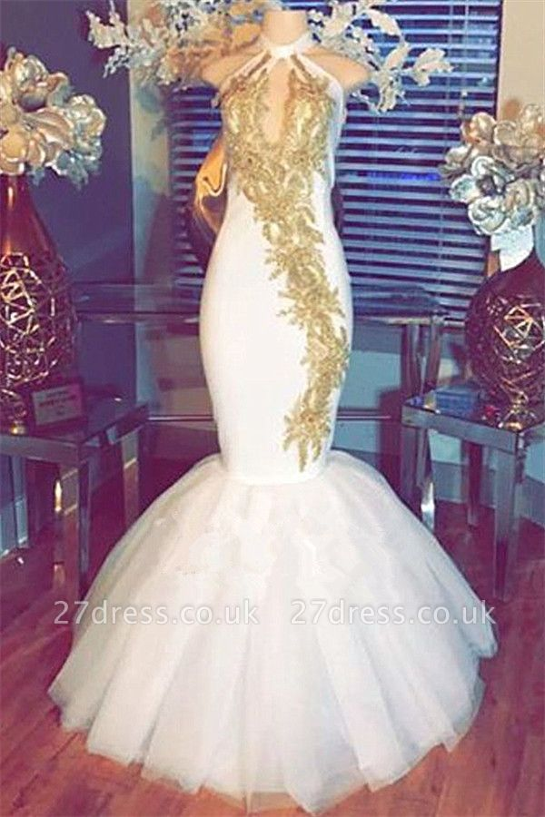 White Mermaid Prom Dress UK | Halter Evening Gowns With Gold Appliques BA8790