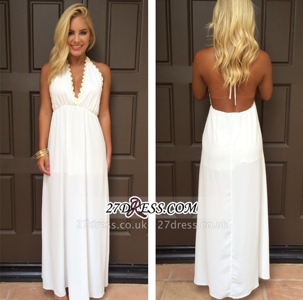 Backless White Maxi Attractive Halter V-Neck Summer Prom Dress UKes UK