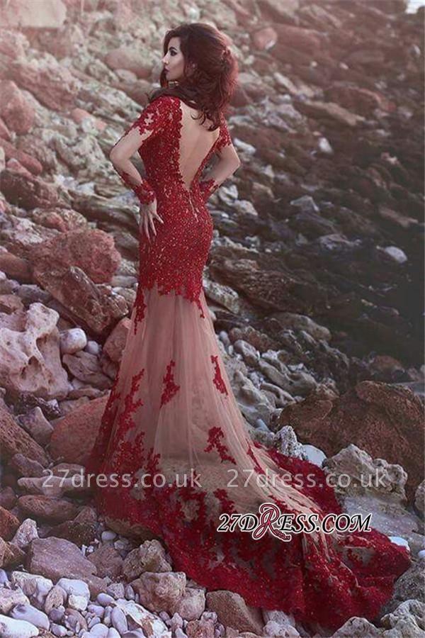 Beading Sheer Tulle Long-Sleeve Appliques Lace Mermaid Open-Back Amazing Prom Dress UK