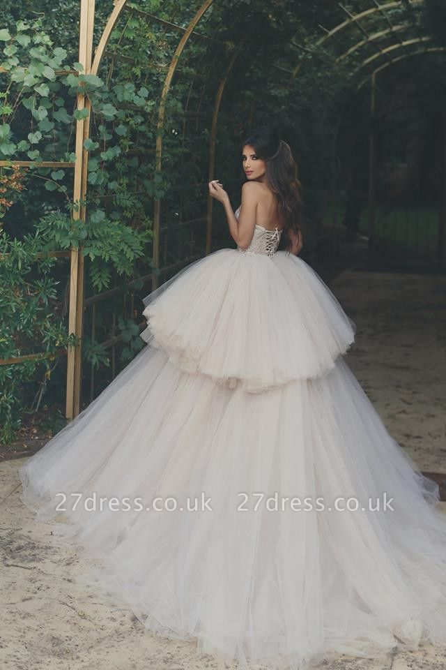 Elegant Strapless Wedding Dress Lace Layers Tulle Hi-Lo Bridal Gowns