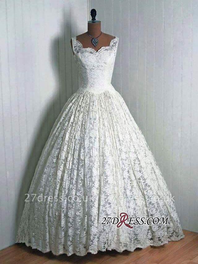 Floor-Length Sleeveless Lace Vantage Elegant Wedding Dresses UK