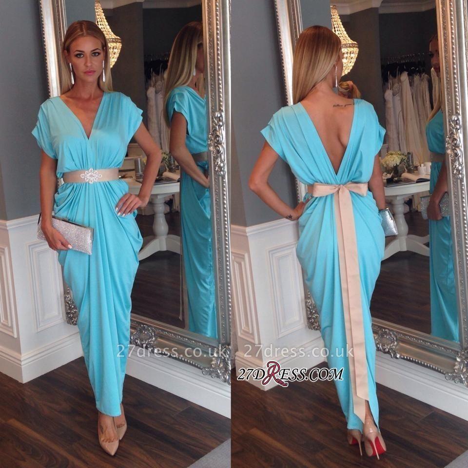 Ruffles Short-Sleeves Sash Bowknot Blue V-neck Beaded Open-Back Evening Dress UK BA3822
