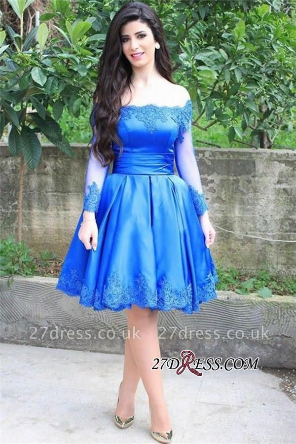 Knee-Length blue Long-Sleeve Appliques Off-the-shoulder Lace Sexy Homecoming Dress UK