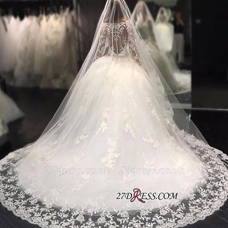 Long-Sleeves Scoop Neckline Crystal Glamorous Tulle Appliques Wedding Dress BA4480