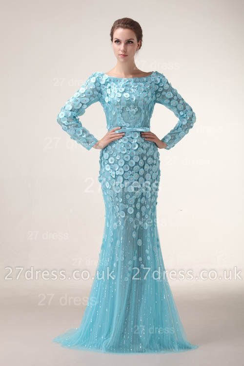 Bateau Long Sleeves Evening Dress UKes UK Mermaid Sequined prom Gowns