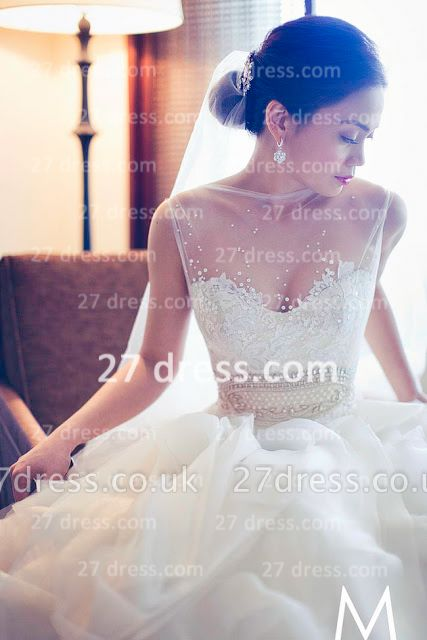 New Backless Sheer Cheap A-Line Wedding Dresses UK Bateau Beaded Appliques Ruffles Bridal Gowns With Court Train
