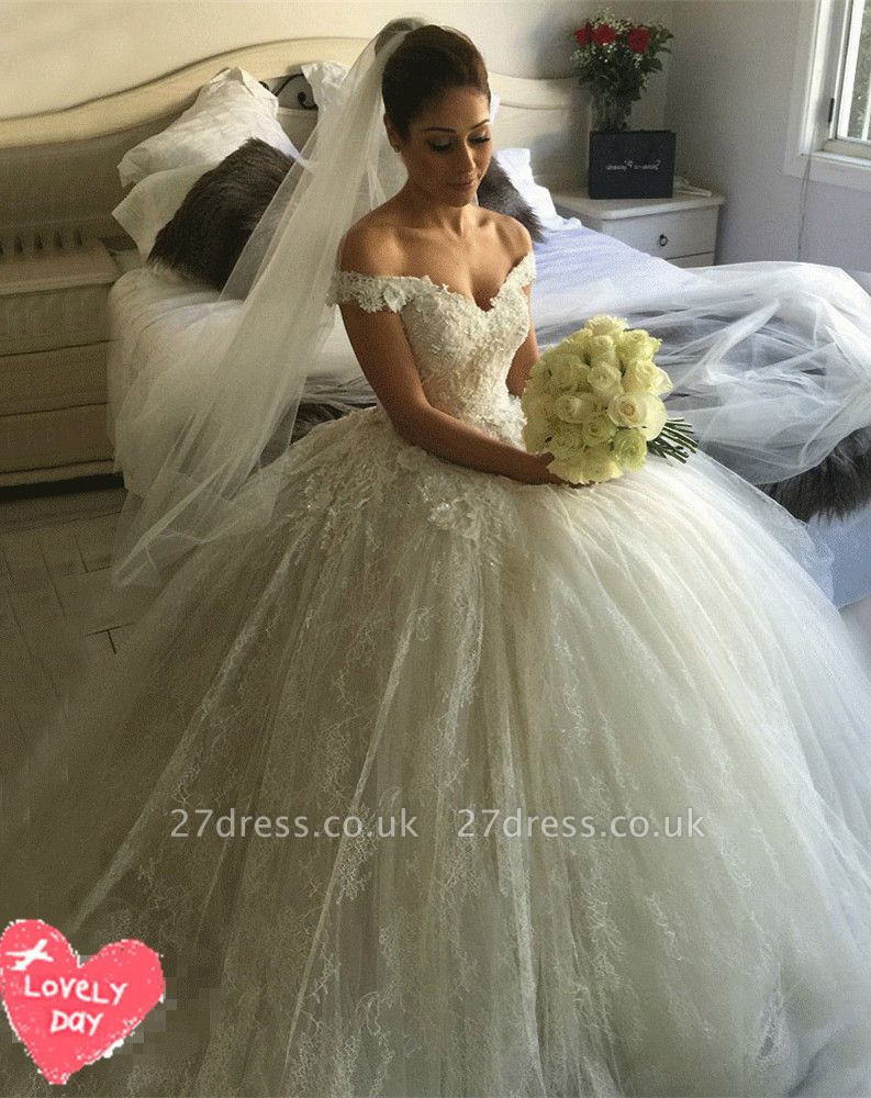 Gorgeous Off-the-Shoulder Ball Gown Wedding Dress Tulle Lace Appliques