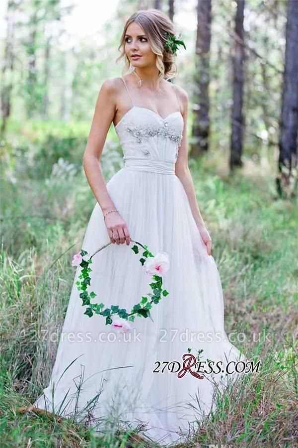 Beadss A-Line Simple Cheap Spaghetti-Straps Tulle Wedding Dress