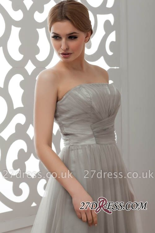 Strapless Floral Sexy A-Line Tulle Bridesmaid Dress UKes UK